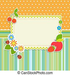 cornice, con, fiori, e, frutte