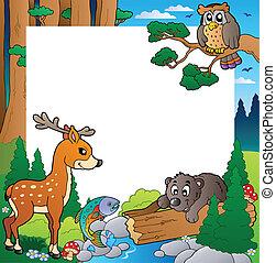 cornice, con, foresta, tema, 1