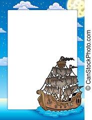 cornice, con, misterioso, nave