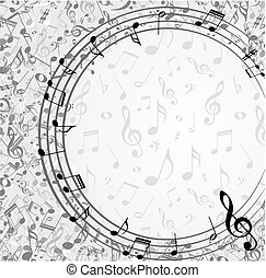 cornice, con, note musica
