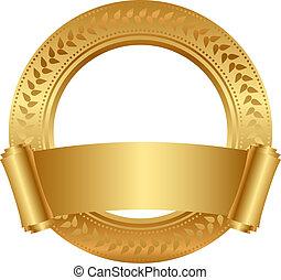 cornice, con, oro, rotolo