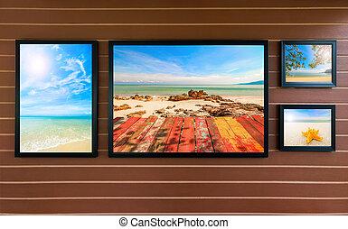 cornice, con, spiaggia, immagine