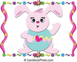 cornice, coniglietto pasqua, colorito