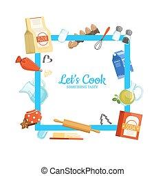 cornice, cottura, ingridients, vettore, drogherie, o