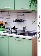 cornice, cucina verde