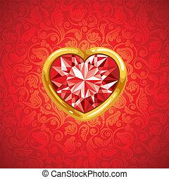 cornice, cuore, dorato, rubino