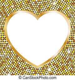 cornice, cuore, oro, forma