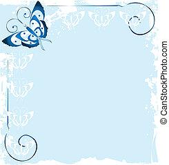 cornice, di, blu, farfalla, logotipo