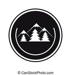 cornice, emblema, foresta, paesaggio