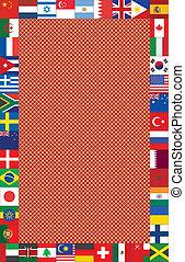 cornice, fatto, bandiere, fondo