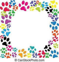 cornice, fatto, di, animale, paws