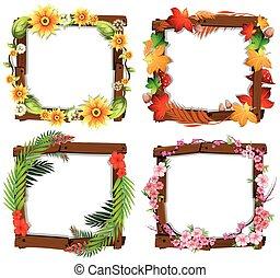 cornice, fiore, legno, set
