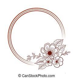 cornice, fiore, rotondo