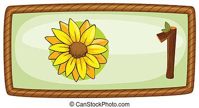cornice, fiore, uno