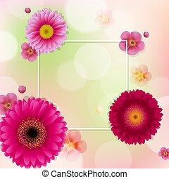 cornice, fiori, bokeh