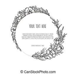 cornice, fiori, disegno, floreale, ornare, piante, ghirlanda, rami, herbs., linea, disegnato, mano