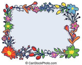 cornice, fiori, disegno, variopinto