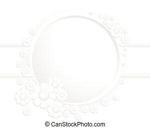 cornice, fiori, grigio, rotondo
