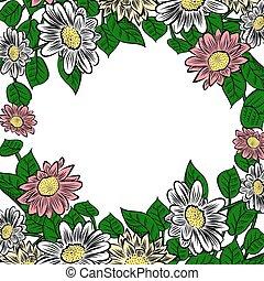 cornice, fiori, hand-drawn, colorito