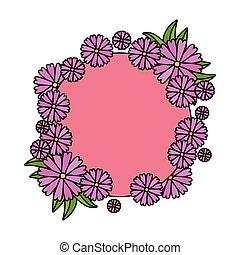 cornice, fiori, mette foglie, circolare