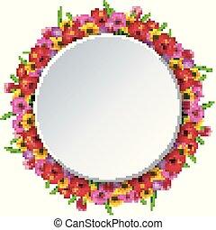 cornice, fiori, rotondo
