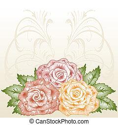 cornice, fioritura, roses.