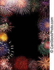 cornice, fireworks, colorito
