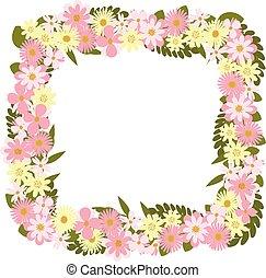 cornice, flowers.