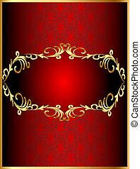 cornice, fondo, con, gold(en), sinuosità, modello, e, cuore