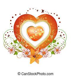 cornice, forma cuore, floreale