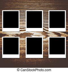 cornice foto, legno, polaroid, fondo