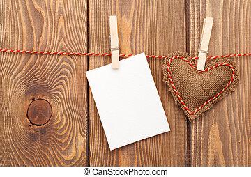 cornice foto, o, cartolina auguri, e, handmaded, giorno valentines, giocattolo, lui