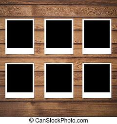 cornice foto, polaroid, struttura, legno, fondo