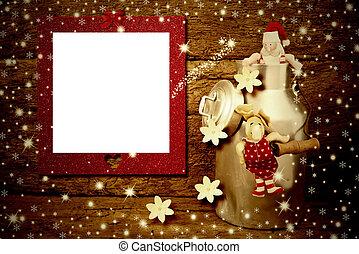 cornice foto, santa, reindeer., scheda natale