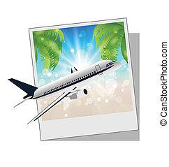 cornice foto, spiaggia, aereo