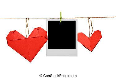 cornice foto, vuoto, corda, origami, cuori
