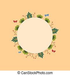 cornice, ghirlanda, rotondo, fiore