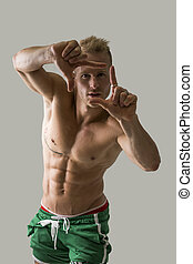 cornice, giovane, muscolare, biondo, uomo, shirtless, gesto, bello