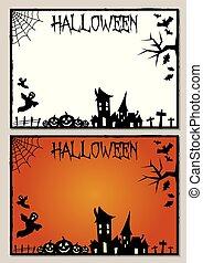 cornice, halloween, scheda, illustrazione, vuoto