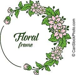 cornice, illustrazione, vettore, disegno, fogliame, floreale, verde