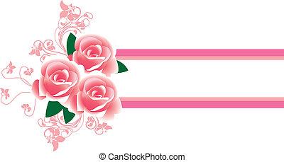cornice, in, il, stile vittoriano, con, rose
