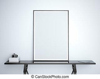 cornice, interpretazione, nero, vuoto, tavola, bianco, 3d
