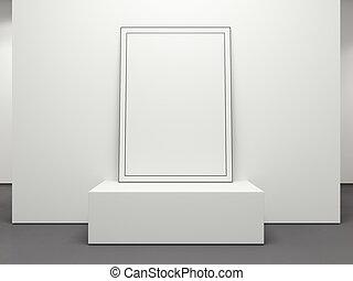 cornice, interpretazione, podium., vuoto, bianco, 3d