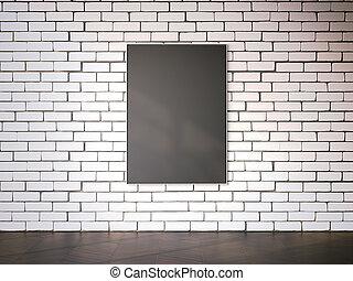 cornice, interpretazione, vuoto, brickwall., bianco, 3d