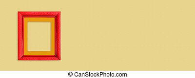 cornice legno, brillante rosso, giallo, fondo.