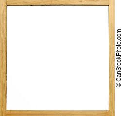cornice legno, cartoncino bianco