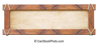 cornice legno, con, corde, isolato, bianco, fondo