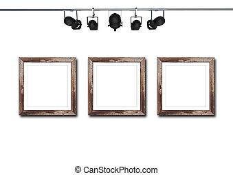 cornice legno, con, riflettore, isolato