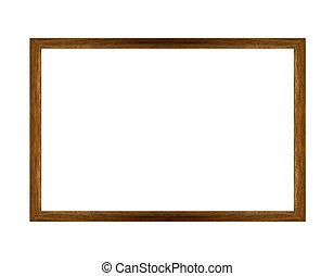 cornice, legno, isolato, fondo, bianco