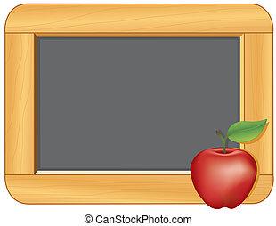 cornice legno, mela, lavagna